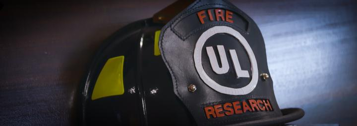 firefighter helmet with UL on the front